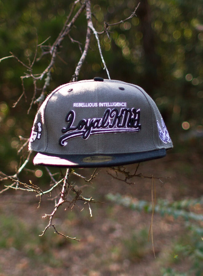 Image of Loyal K.N.G. Cursive Script Grey/Black Snapback Cap #04