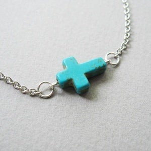 Image of Sideways Turquoise Howlite Cross Necklace