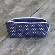 Image of pencil pouch - navy with metallic gold