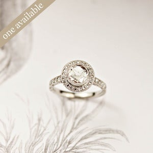 Image of platinum 6.5mm rose cut diamond ring {stone set No.G}