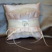 Image of GRACEFUL Silk Dupioni Tulle and Rhinestone Buckle Ring Pillow