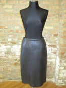 Image of Black Leather Pencil Skirt