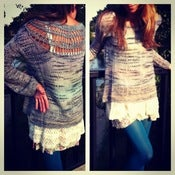 Image of free people sweater with crochet lace shoulder reveal