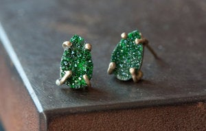 Image of Green Uvarovite Garnet Stud Earrings