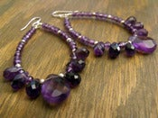 Image of Amethyst Twilight Hoop Earrings | Faceted Amethyst Gemstones, Sterling Silver Accents