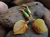 Image of Rustic Leaf Dangle Earrings | Handcarved Carnelian Leaves, Emerald Canyon Turquoise