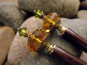 Image of Shades of Autumn Hairsticks | Faceted Topaz Glass, Olivine Swarovski Crystals