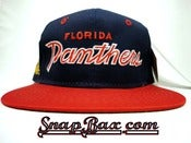 Image of Vintage Deadstock Florida Panthers Twill Two Tone Sports Specialties Script Snapback hat cap