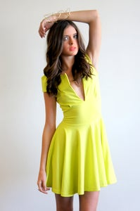 Image of PONTI DRESS - LIME 