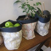 Image of Handmade Fabric Bucket - shells with denim