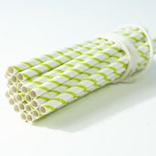 Image of Lime Green Stripe Small Paper Straws