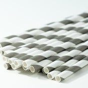 Image of Grey Stripe Paper Straw