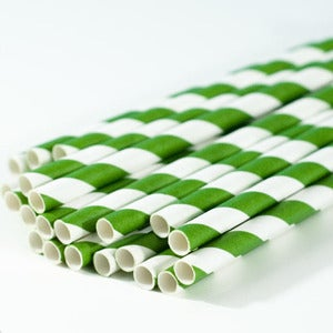 Image of Green Stripe Paper Straw