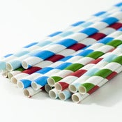 Image of Blue Christmas Stripe Paper Straws