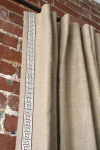 Image of Burlap Panel with Greek Key Trim
