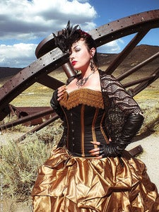 Image of Curvy Elegance Longline Overbust Corset BRONZE and BLACK