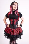 Image of Black and Red Stripe Underbust Vest and Skirt Set