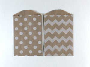 Image of Mini Kraft Patterned Paper Bags