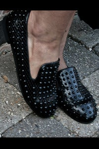Image of Black Studded Slipper Shoes