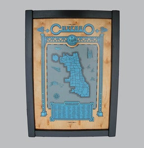 Image of chicago map - framed