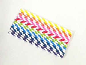 Image of Rainbow Striped Paper Straw Pack