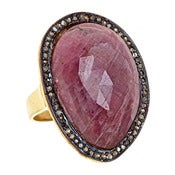 "Image of "" New "" Kara Ackerman <i> Alice Rose <i/>  Pink Sapphire and Diamond ring"