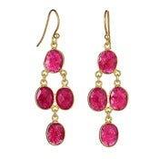 "Image of "" New "" Kara Ackerman <i> Judie <i/> Oval Faceted Ruby 4 Drop Earring"