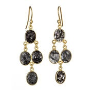 "Image of  "" New "" Kara Ackerman <i> Judie <i/> Oval Faceted Rhudilated Black Quartz 4 Drop Earring"