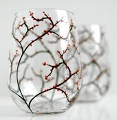 Image of Autumn Wine Glasses-Set of 2 Stemless Hand-painted Glasses
