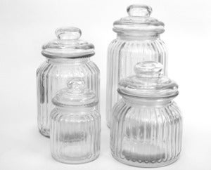 Image of Range of Ribbed Glass Canisters ~ Perfect for Dessert Tables