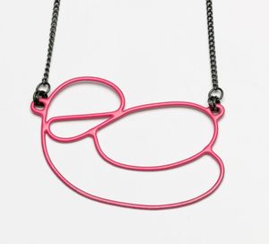 Image of Pink pendant with black chain