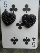 Image of Stunning Black Glittery Sparkly Heart Shaped Earrings