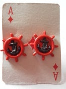Image of Nautical Rockabilly Kitsch Retro Red & Black Anchor Ships Wheel Earrings