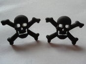 Image of Skull Pirate Psychobilly Rockabilly Punk Skull & Crossbones Black Earrings
