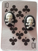 Image of Small Skull & Cross Bone Oval Rockabilly Psychobilly Punk Earrings