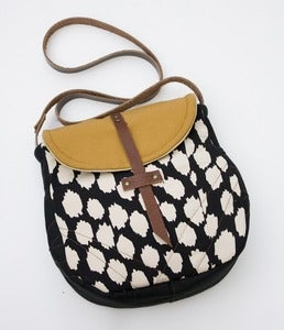 Image of -S O L D- the perfect crossbody. (black +cream ikat dots)