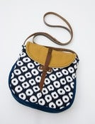 Image of - S O L D- the perfect crossbody (navy + white ikat dots)