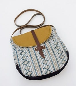 Image of - S O L D- the perfect crossbody. (nutmeg + teal diamonds + stripes)