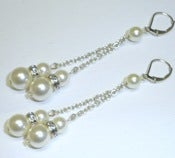 Image of Cream Pearl Dangle Earrings Sterling Silver Leverback