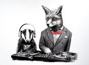 Image of Dj Crafty Fox and MC Badger 11 x 14 Print