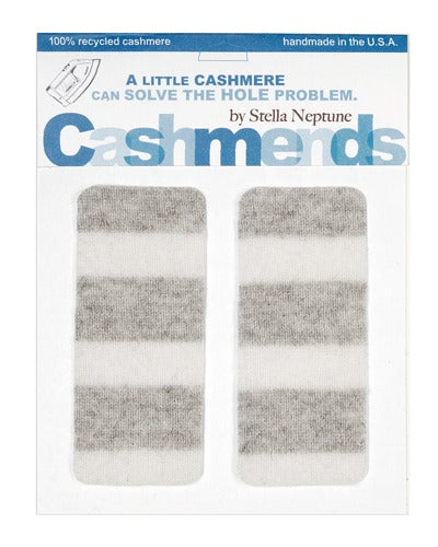 Image of Iron-On Cashmere Elbow Patches - LIGHT GREY/ WHITE - Limited Edition!