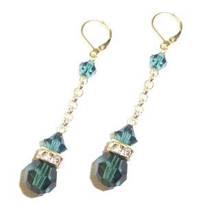 Image of Swarovski Crystal Emerald Green Gold Plated Leverback Earrings