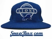 Image of Vintage Deadstock Detroit Lions Sports Specialties Script Circle Snapback Hat Cap