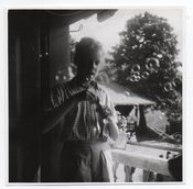 Image of BOY BLOWS BUBBLES VINTAGE SNAPSHOT PHOTO