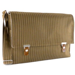 "Image of 13"" / 15"" / 17"" Laptop messenger bag in brownish green and beige cotton pinstripe"