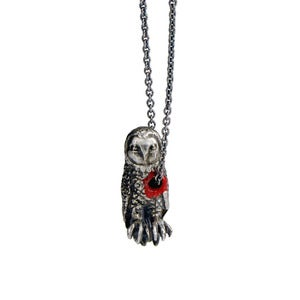 Image of Hole in heart owl necklace
