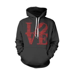 Image of Classic LOVE Hoodie (Black/Red)