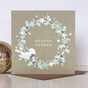 Image of Christmas Wishes Rustic Wreath Card