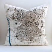 Image of Vintage MADRID Map 18&quot; x18&quot; Pillow Cover