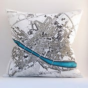 "Image of Vintage FLORENCE Map 18""x18"" Pillow Cover"
